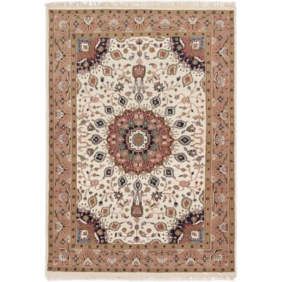 Ivan Hand-Knotted Cream/Brown Area Rug Rug Size: 47 x 67