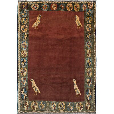 Espinoza Hand-Knotted Dark Red Area Rug
