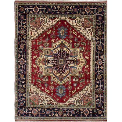 One-of-a-Kind Briggs Hand-Knotted Dark Red/Beige Rectangle Area Rug