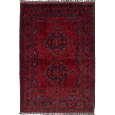 One-of-a-Kind Bouldercombe Hand-Knotted Dark Red/Black Area Rug