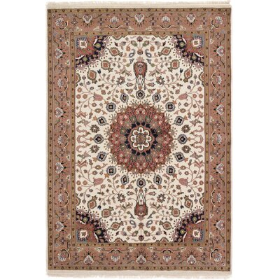 One-of-a-Kind Bluford Hand-Knotted Cream/Brown Area Rug Rug Size: 56 x 8