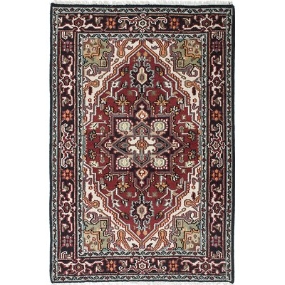 One-of-a-Kind Larsen Hand-Knotted Black/Dark Red Area Rug