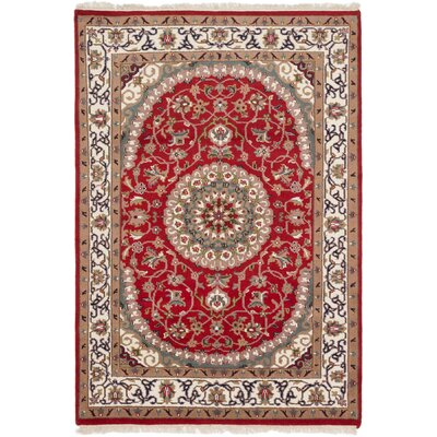 One-of-a-Kind Bluford Hand-Knotted Red Area Rug