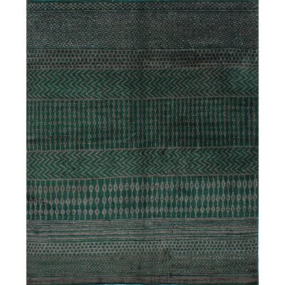 Dennise Hand-Knotted Dark Green/Dark Gray Area Rug