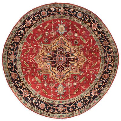 Briggs Hand-Knotted Red Round Wool Area Rug