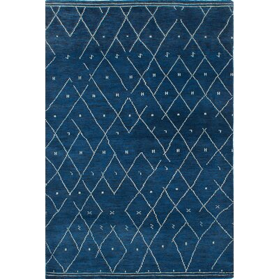 Arlequin Hand-Knotted Dark Blue Area Rug