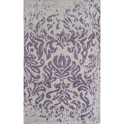 La Seda Hand-Knotted Dark Cream/Dark Purple Area Rug