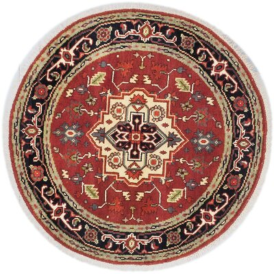 One-of-a-Kind Briggs Hand-Knotted Round Dark Copper Area Rug
