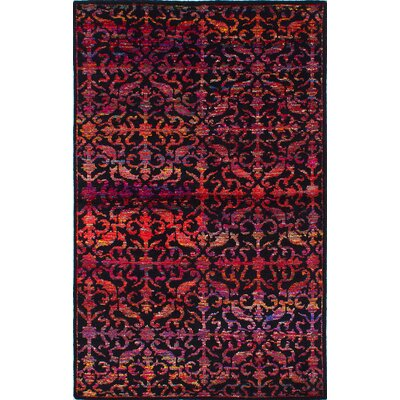 La Seda Hand-Knotted Black/Red Area Rug