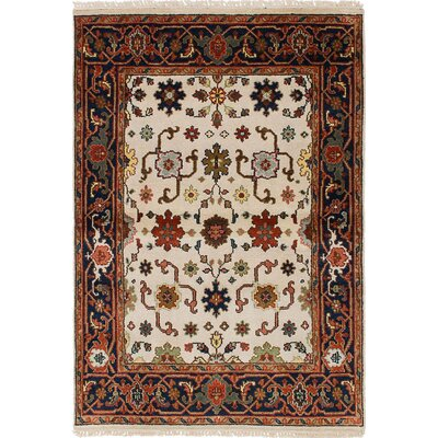One-of-a-Kind Briggs Hand-Knotted Cream Area Rug