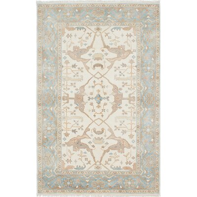 Li Hand-Knotted Cream/Light Denim Blue Area Rug