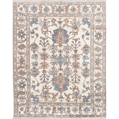 One-of-a-Kind Beth Hand-Knotted Cream Area Rug