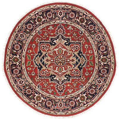 One-of-a-Kind Briggs Hand-Knotted Round Dark Burgundy Wool Area Rug