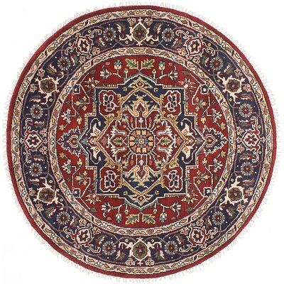 Briggs Hand-Knotted Red Round Oriental Area Rug
