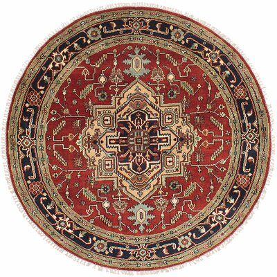 One-of-a-Kind Briggs Hand-Knotted Dark Red Round Area Rug