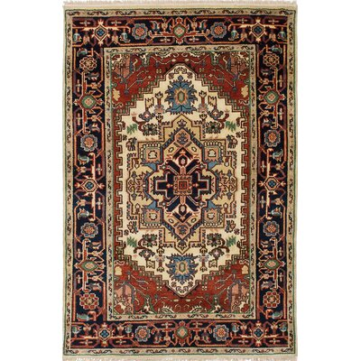 One-of-a-Kind Briggs Hand-Knotted Rectangle Cream/Dark Copper Area Rug