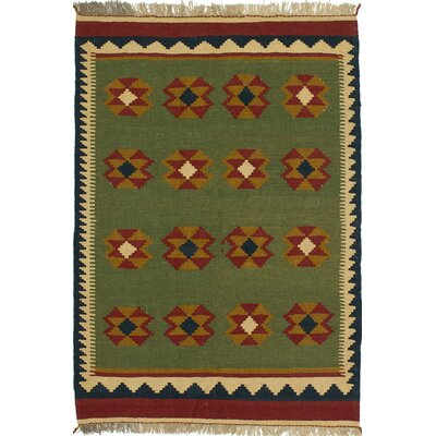 One-of-a-Kind Flinsch Handmade Wool Green Area Rug