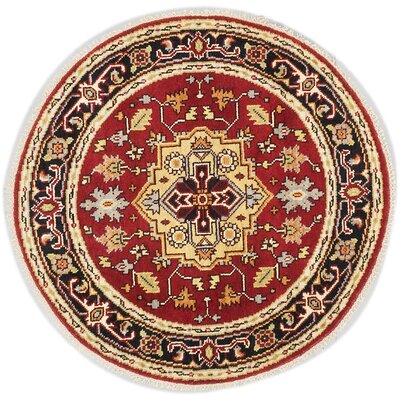 One-of-a-Kind Briggs Hand-Knotted Round Dark Copper Wool Area Rug