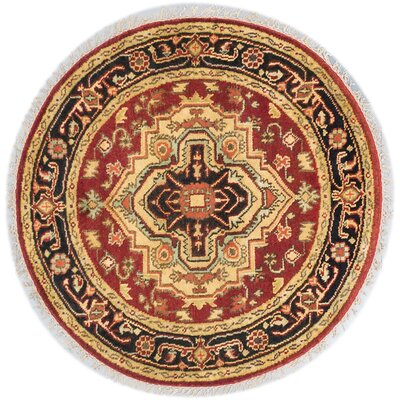 Serapi Heritage Hand-Knotted Dark Burgundy Area Rug