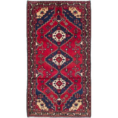 Evon Hand-Knotted Dark Red Area Rug