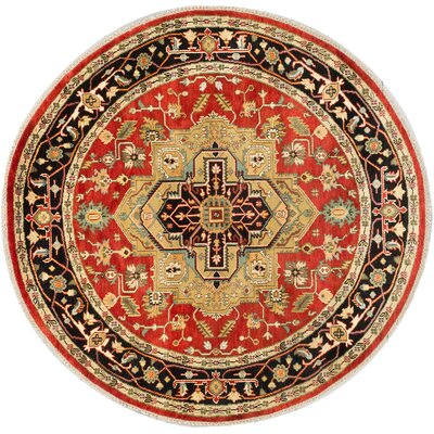 One-of-a-Kind Briggs Hand-Knotted Round Dark Burgundy Area Rug