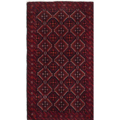 Finest Baluch Wool Hand-Knotted Dark Navy/Light Red Area Rug