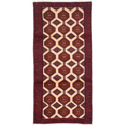 Finest Baluch Wool Hand-Knotted Brown/Cream Area Rug