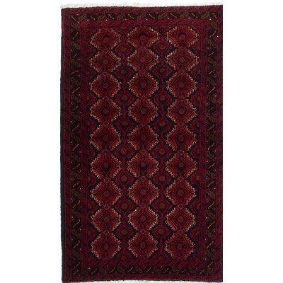 One-of-a-Kind Finest Baluch Wool Hand-Knotted Dark Navy/Dark Red Area Rug