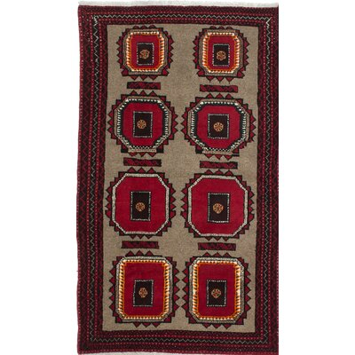 Finest Baluch Wool Hand-Knotted Gray/Red Area Rug
