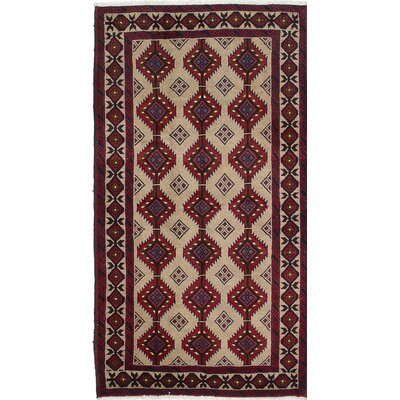 Finest Baluch Wool Hand-Knotted Beige/Red Area Rug