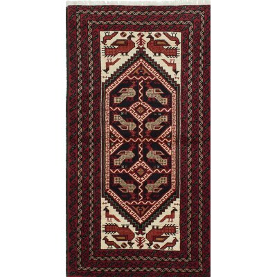 Finest Baluch Wool Hand-Knotted Red Area Rug