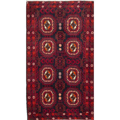 Finest Baluch Wool Hand-Knotted Dark Navy Area Rug