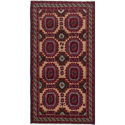 One-of-a-Kind Finest Baluch Wool Hand-Knotted Ivory/Red Area Rug
