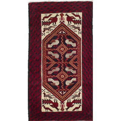 One-of-a-Kind Finest Baluch Wool Hand-Knotted Cream/Red Area Rug