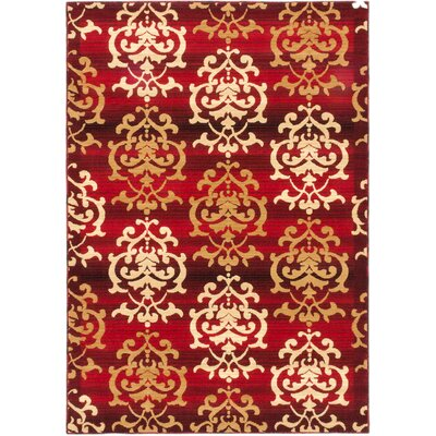 Bonfield Dark Red Area Rug Rug Size: 53 x 77