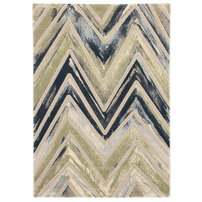 Seth Emerald green/Gray/Blue Area Rug Rug Size: 53 x 77