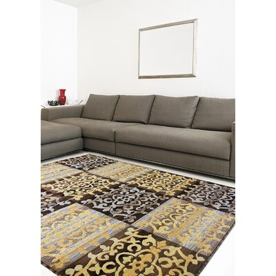 Brundrett Dark Brown/Light Gold Area Rug Rug Size: 53 x 77
