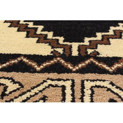 Kamryn Oriental Hand-Knotted Black/Cream Area Rug