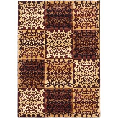 Brundrett Burgundy/Ivory Area Rug Rug Size: 53 x 77