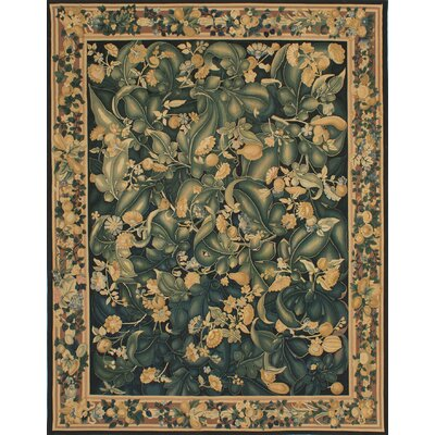 Berrywood Hand-Woven Black/Dark Green Area Rug