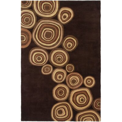 Brendle Hand-Tufted Dark Brown Area Rug