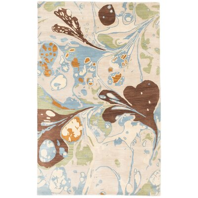 Nanticoke Hand-Tufted Ivory/Brown/Blue Area Rug