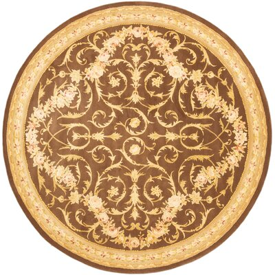 Inny Hand-Tufted Brown Area Rug Rug Size: Round 8