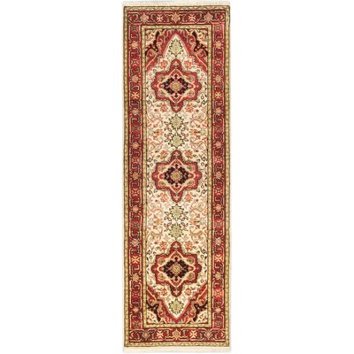 Runell Hand-Knotted Cream/Red Area Rug