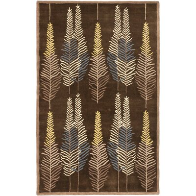 Burnabbie Leaf Hand-Tufted Brown/Yellow/Blue Area Rug