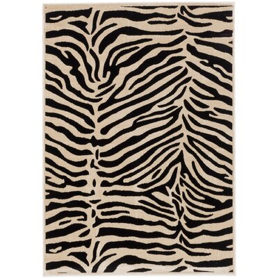 Vincenzo Black/Cream Area Rug Rug Size: 53 x 73