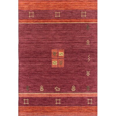 Salvatore Hand-Knotted Dark Red Area Rug
