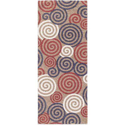 Carley Ivory/Red/Blue Area Rug