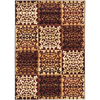 Brundrett Burgundy/Ivory Area Rug Rug Size: 67 x 96