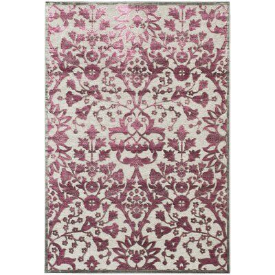Bonley Purple/Light Gray Area Rug Rug Size: 76 x 106